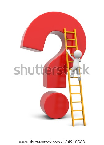 3d man, people, person with ladder and question mark