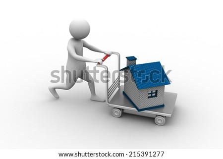 3d man pushing house in trolley