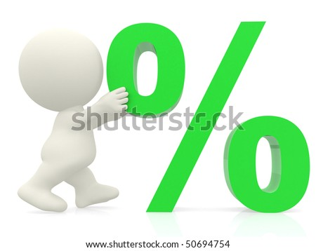 3D man pushing percentage sign isolated over white