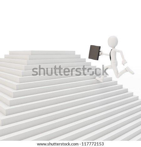 3d man running on a stair on white background