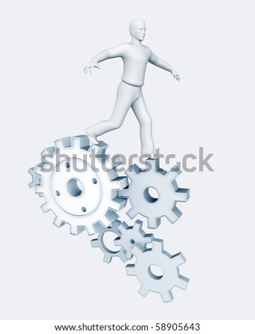 3D man running on gears isolated over a white background