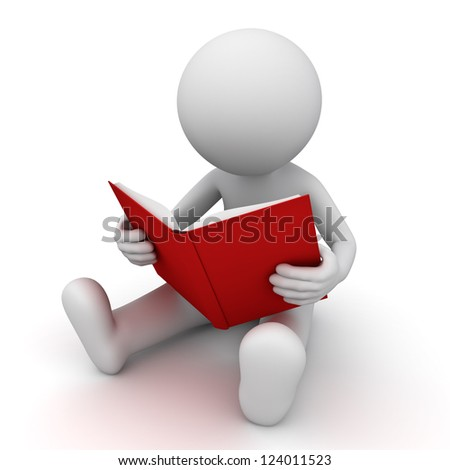 3d man sitting and reading a red book over white background