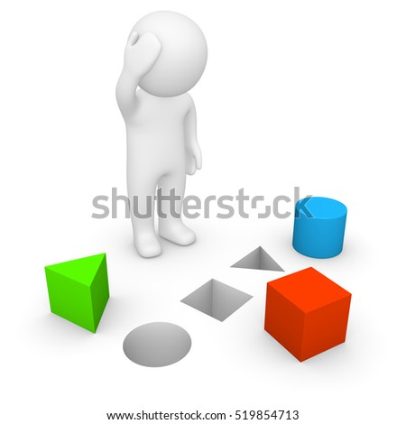 3d man trying to solve problem. 3d render.