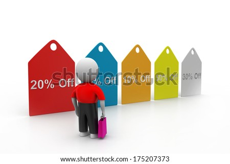 3d man watching sales tags