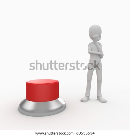 3d man with a green button wondering
