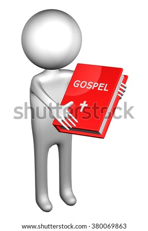 3d Man with Gospel, isolated on white background.