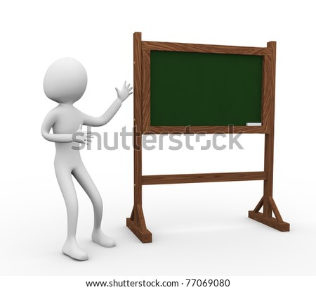 3d man with green chalkboard on a white background