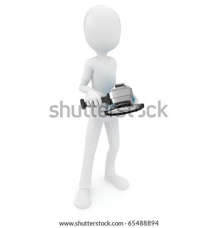 3d man with metal grinder isolated on white