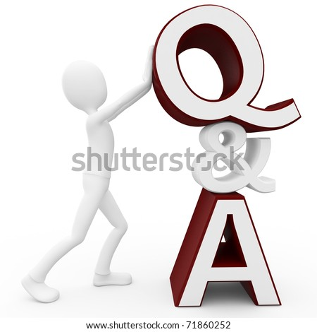 3d man with question and answer sign isolated on white