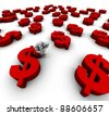3D Mannequin Sitting on '$' Dollar Symbol in red with many more dollar symbols around. - stock photo