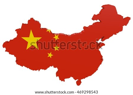 3D map of China in the colors of the national flag