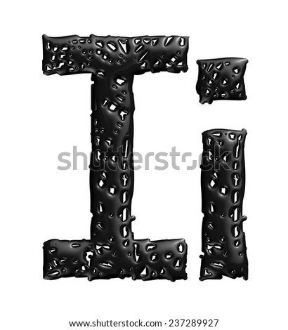 3D melt black alphabet letter I in small and big on white background.