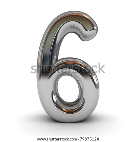 3D metal cartoon number isolated