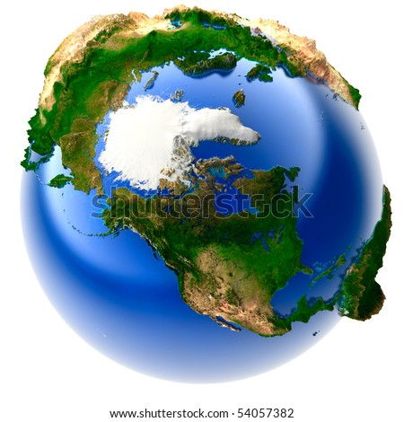 3D model of the globe with an exaggerated vertical relief