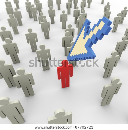 3d mouse cursor pointing to unique person in the crowd