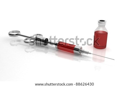 3D old injecting syringe and bottle on white background