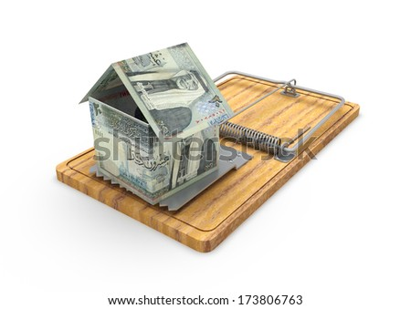 3d origami house made with jordanian money placed on mousetrap isolated in white background