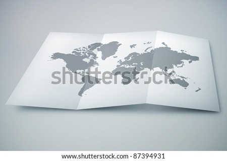 3D paper map on desk