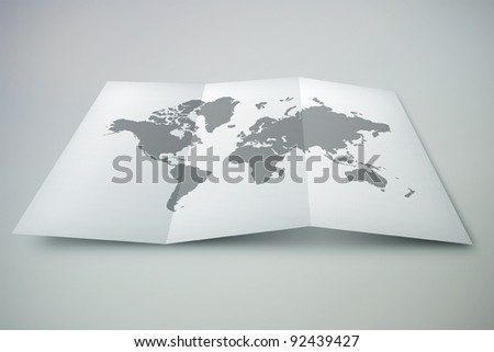 3D paper world map