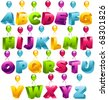 3D Party Balloons Font - stock vector