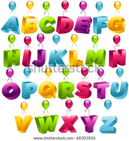 3D Party Balloons Font