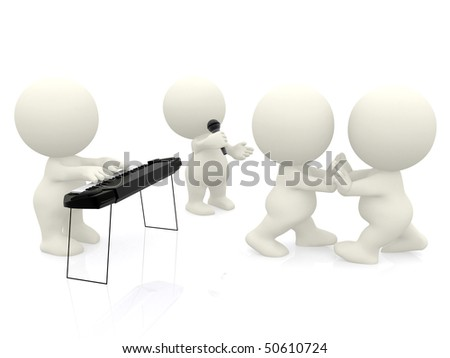 3D people at a party dancing and playing music - isolated over white