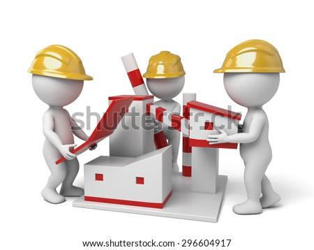 3d people building a factory. 3d image. Isolated white background.