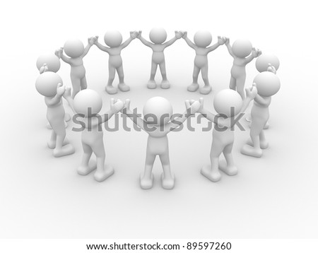 3d people - human character, people in circle. This is a 3d render illustration