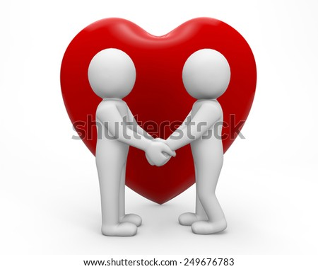 3d people - human character , person. Love concept, declaration of love. 3d render wedding