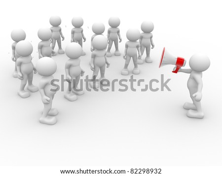 3d people- human character speaking at megaphone in front of the crowd. 3d render illustration