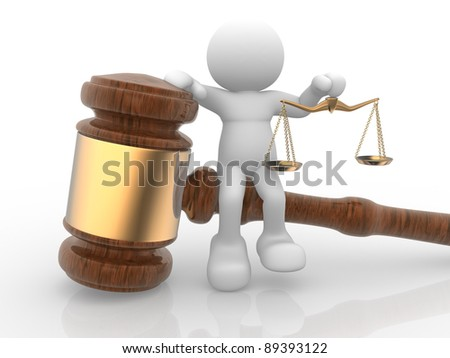 3d people- human character with a justice scale and gavel sound. 3d render illustration