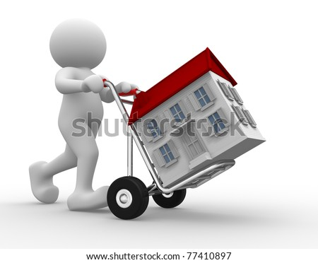 3d people icon with house on hand truck -This is a 3d render illustration