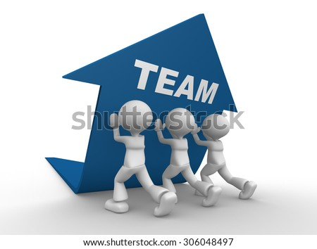 3d people - man, person pushing blue arrow. Teamwork concept