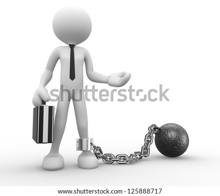 3d people - man, person with a chain ball. Prisoner. Businessman
