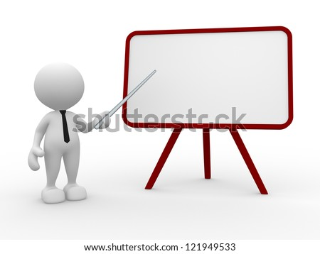 3d people - man, person with a pointer and a blank board