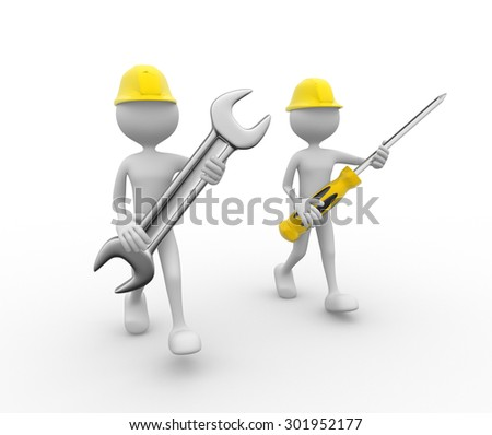 3d people - man, person with a wrench and hammer