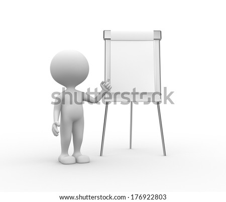3d people - man, person with flip chart
