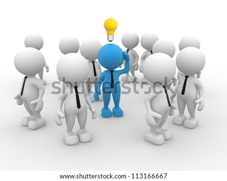 3d people - man, person with idea light bulb above their heads