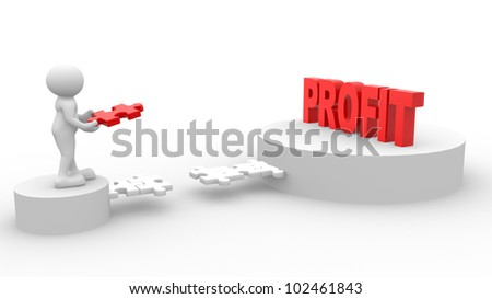 3d people - men, person and last piece of  puzzle -  jigsaw. Profit, gain