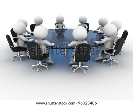 3d people - men, person at conference table . Partnership