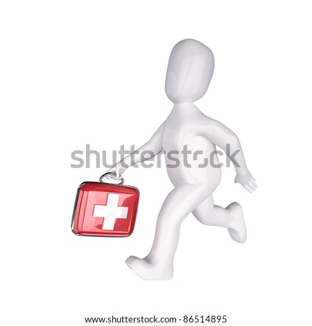 3d  people the doctor with  the first-aid set in hands. 3d image. Isolated white background.