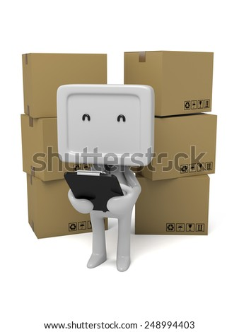 3d people with a clipboard and goods. 3d image. Isolated white background