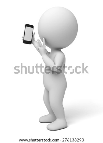 3d people with a mobile phone, 3d image. Isolated white background.