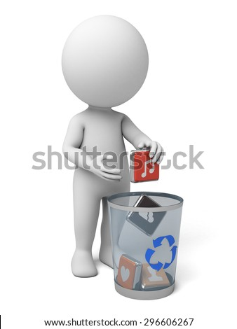 3d people with throw some icons into a trash bin. 3d image. Isolated white background.