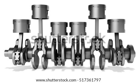 3d pistons and crankshaft, automotive engine on white background 3D illustration