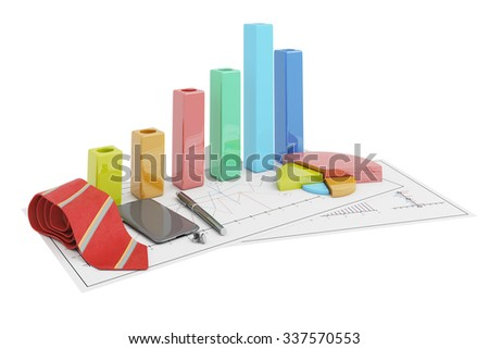 3d positive bar Graphs of financial analysis with telephone, tie and cufflinks