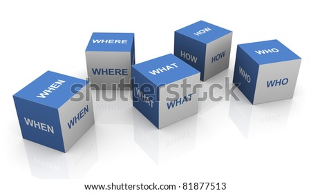 3d questions words boxes on white background