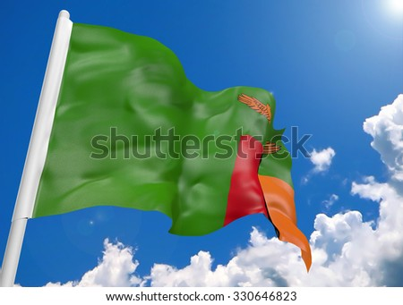 3D realistic waving flag of Zambia
