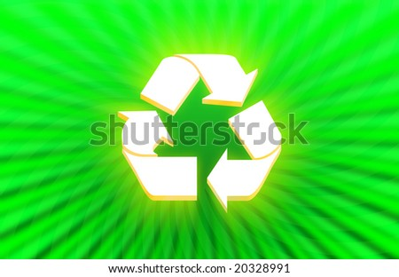 3d Recycle symbol on abstract green background
