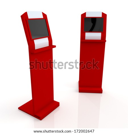 3d red and white stand display with monitor touch screen for data information in isolated background with clipping paths, work paths included